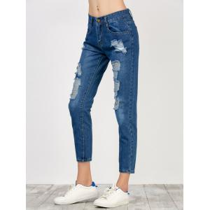 High Rise Broken Hole Jeans - BLUE XL
