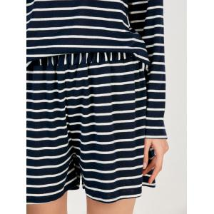 Striped Tee and Shorts Twinset - PURPLISH BLUE XL