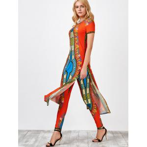 High Slit Africa Print Robe Dress with Pants - JACINTH XL