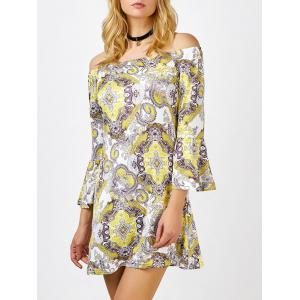 Off The Shoulder Floral Long Sleeve Shift Dress - Colormix - Xl