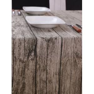 Vintage Wood Grain Dust Prevention Table Cloth - BROWN GREY 140*140CM