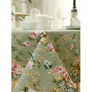Countryside Floral Print Waterproof Oilproof Table Cloth - GREEN 140*140CM