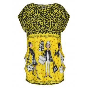 Short Sleeve Allover Print T-Shirt - Yellow And Black - One Size