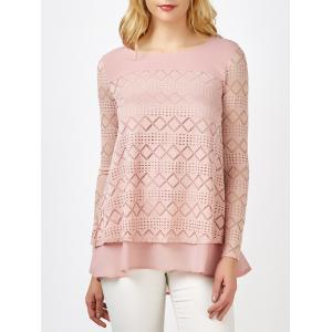 Lace Crochet Layered Blouse - PINK L