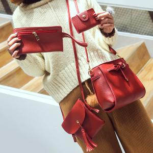 Buckle Strap Detail 4 Piece Crossbody Bag Set - Red - L