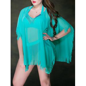Plus Size Mesh Swimsuit Sheer Fringe Tunic Beach Cover Up