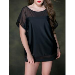 Plus Size  Dolman Sleeve Voile Panel Cover Up Tee - Black - One Size