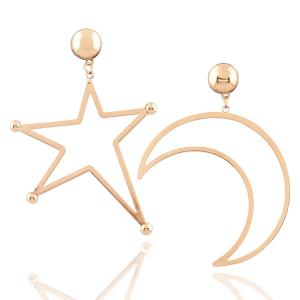 Alloy Moon Star Drop Earrings