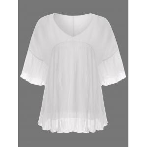 V Neck Pleated Chiffon Plus Size Top