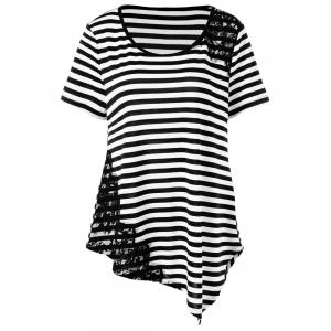 Lace Trim Striped Asymmetrical T-Shirt