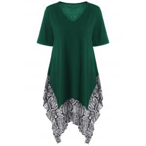 Plus Size Floral Trim Asymmetrical Longline T-Shirt - Blackish Green - 3xl