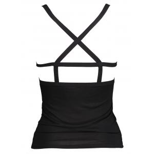 Low Back Tight Strappy Bra Camisole - BLACK ONE SIZE