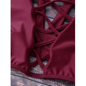 Lace Up Plunging Neck Bikini - BURGUNDY XL