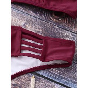 Lace Up Plunging Neck Bikini - BURGUNDY M