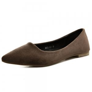 Suede Slip On Flat Shoes - Deep Brown - 38