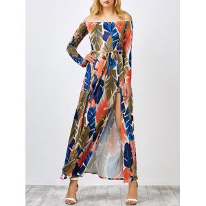 Off The Shoulder Leaf Print Hawaiian Maxi Dress - Colormix - Xl