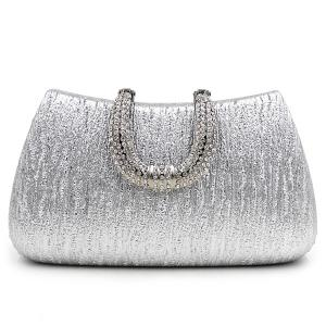PU Leather Rhinestone Clutch Evening Bag - Silver - 43