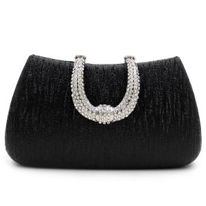 PU Leather Rhinestone Clutch Evening Bag