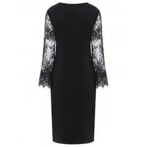 Lace Insert Long Sleeve Plus Size Surplice Dress - BLACK 4XL