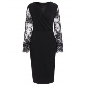 Lace Insert Long Sleeve Plus Size Surplice Dress - Black - 6xl
