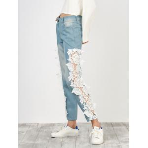 Floral Lace Panel Jeans with Pockets - White - M
