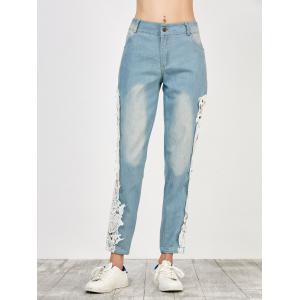 Floral Lace Panel Jeans with Pockets - WHITE L