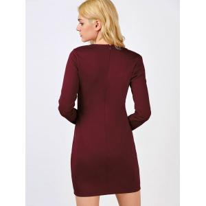 Long Sleeve Mini Bodycon Cut Out Bandage Dress - RED 2XL