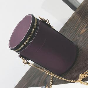 Chains Detail Cross Body Cylinder Shaped Bag - Purple