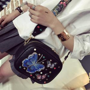 Rivet Butterfly Embroidery Crossbody Bag - BLACK