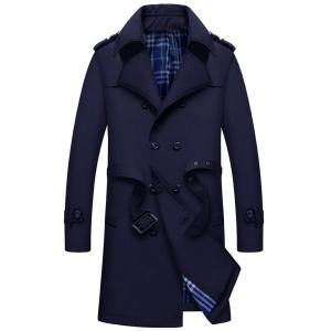 Double Breasted Epaulet Long Trench Coat - Purplish Blue - M