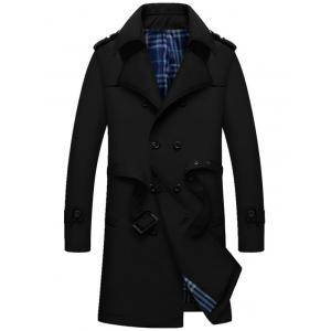 Double Breasted Epaulet Long Trench Coat - Black - 4xl