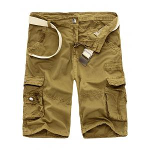 Zipper Fly Drawstring Design Multi Pockets Cargo Shorts