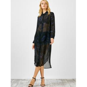 Long Sleeve Semi Sheer Chiffon Flowy Shirt Dress - COLORMIX M