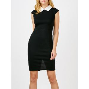 Flat Collar Back Slit Bodycon Dress