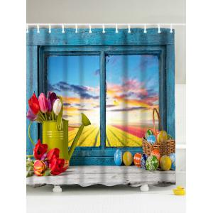 Easter Eggs Window Print Mildew Resistant Shower Curtain - Lake Blue - 180*200cm