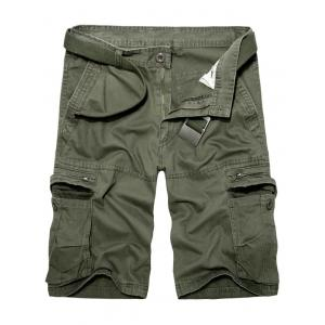Staright Leg Multi Pockets Cotton Cargo Shorts - Army Green - 29