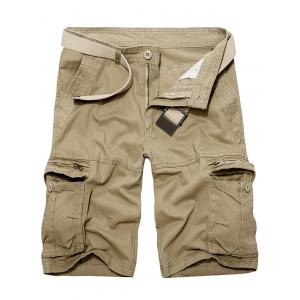 Staright Leg Multi Pockets Cotton Cargo Shorts - Khaki - 34
