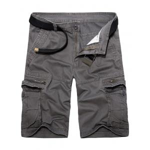 Staright Leg Multi Pockets Cotton Cargo Shorts - Deep Gray - 29