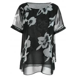 Floral Chiffon Plus Size Top