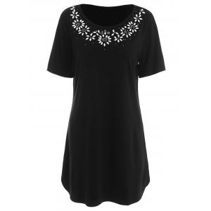 Beaded Plus Size Top - Black - 5xl