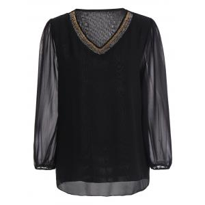 Plus Size Beading V Neck Chiffon Blouse