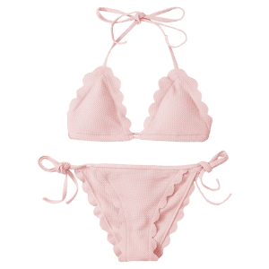 Scalloped String Bikini Swimwear - PINK M