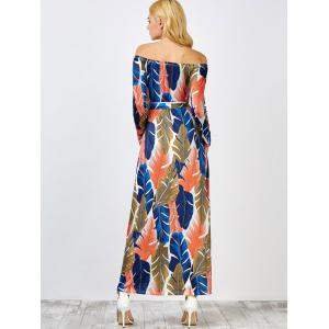 Off The Shoulder Leaf Print Hawaiian Maxi Dress - Multicolore S