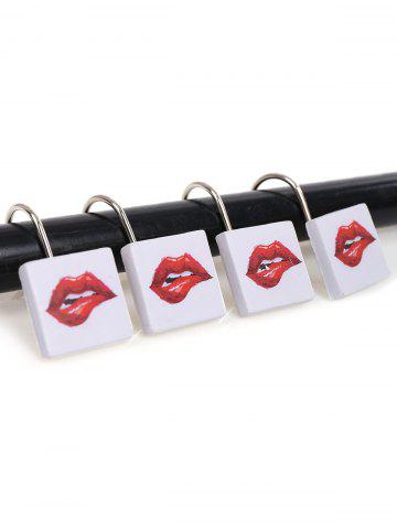 Best 12Pcs Lip Pattern Shower Curtain Hooks Set