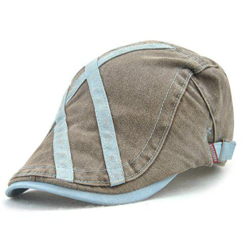 Online Cross Stripes Sewing Thread Cabbie Hat - CLOUDY  Mobile
