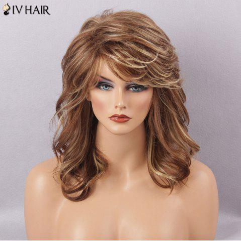 Outfits Siv Hair Long Fluffy Curly Side Bang Human Hair Wig BROWN BLONDE MIXED H