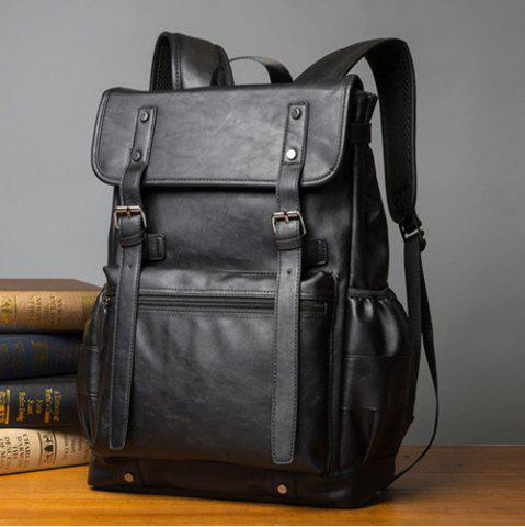 Latest Buckle Straps Detail Faux Leather Backpack - BLACK  Mobile