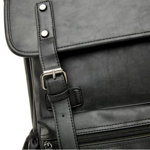 Online Buckle Straps Detail Faux Leather Backpack - BLACK  Mobile