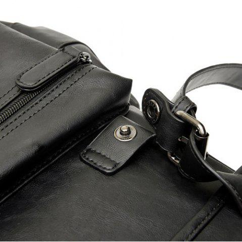 Fashion Buckle Straps Detail Faux Leather Backpack - BLACK  Mobile