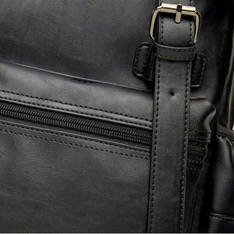 Buy Buckle Straps Detail Faux Leather Backpack - BLACK  Mobile